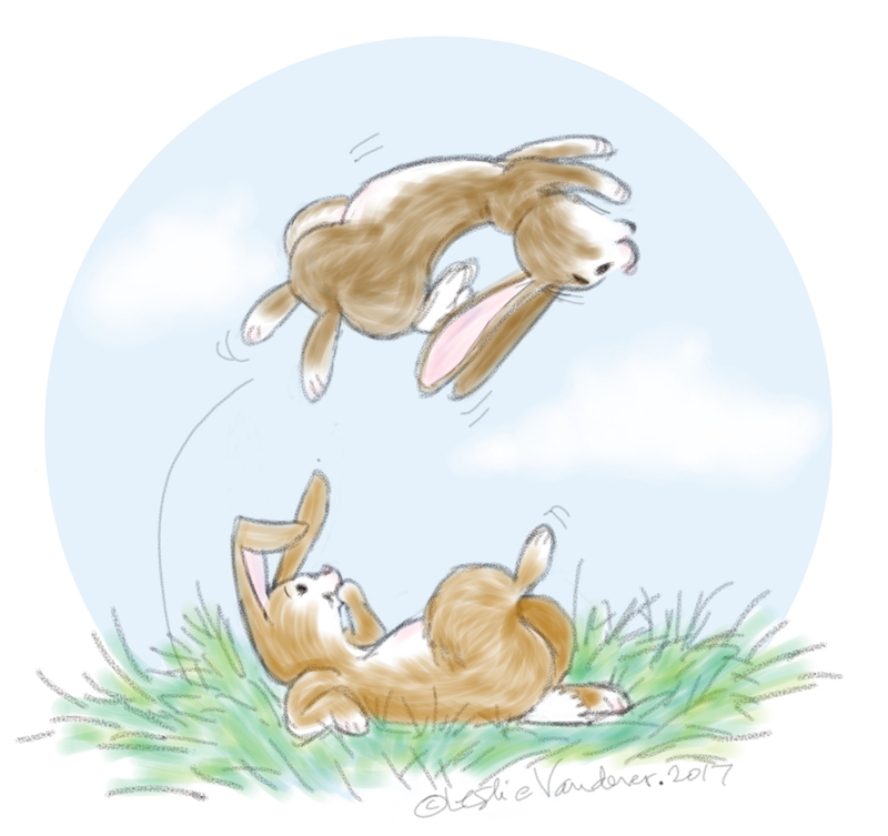 Summer Bunnies, digital art by Leslie Wren Vandever.