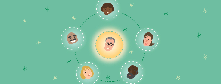 Person's head as a sun with people rotating around. Space, family, stars, connected.