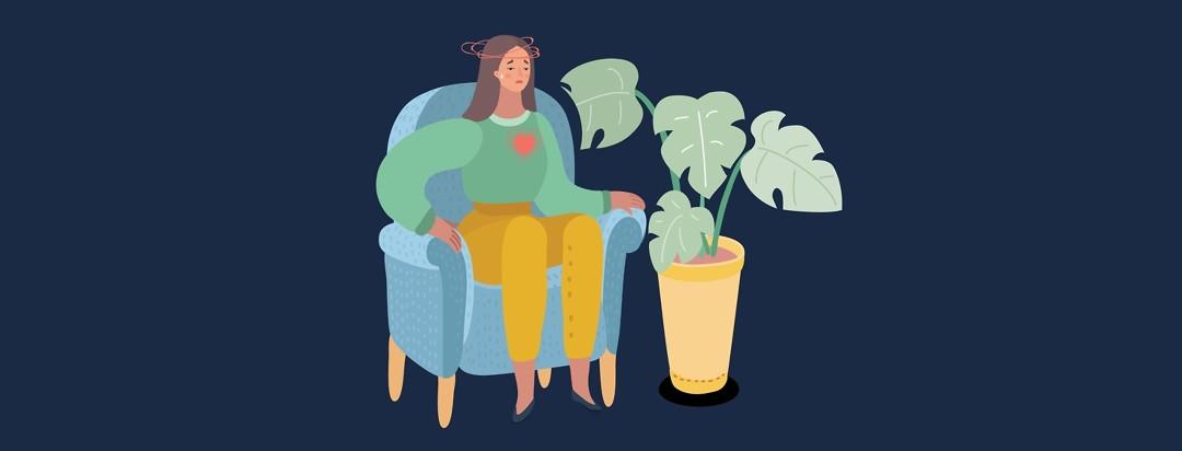 Woman sitting high blood pressure