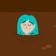 a woman neck deep in mud