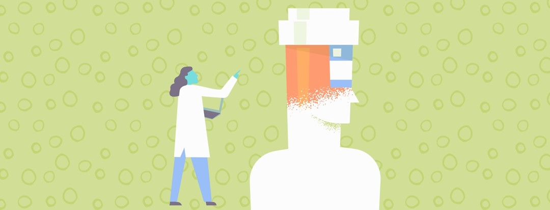 Female doctor pointing to a head that transforms into a medicine bottle