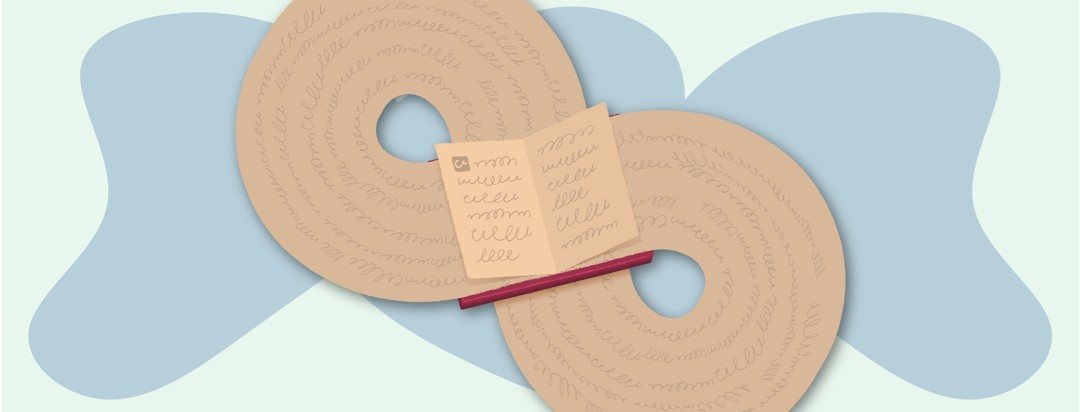 An open book where the pages make an infinity sign