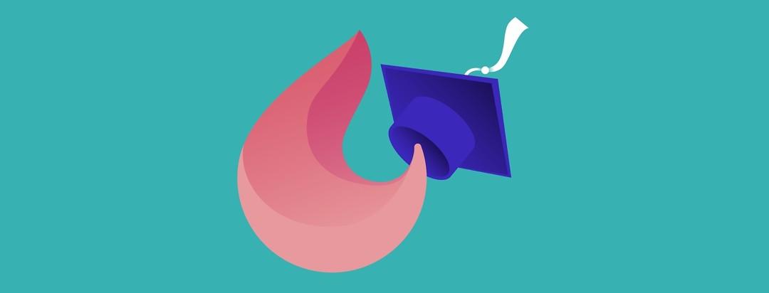 a flame-like shape wearing a blue graduation cap,