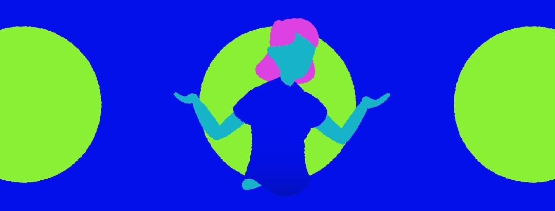 agreen figure in a blue shirt with pink hair with their hands in the air making an i don't know gesture.