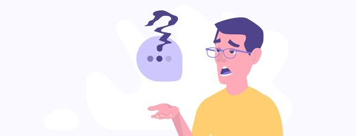 male talking with a warped and wonky question mark coming from a speech bubble.