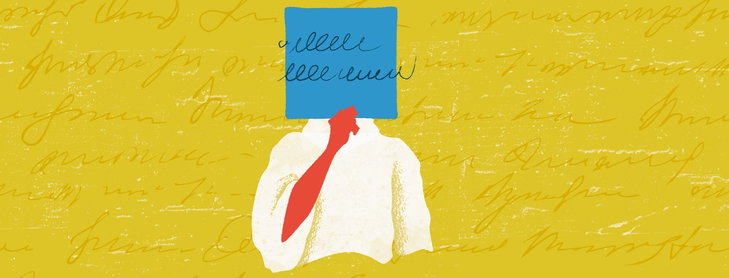 Red figure in a white sweater holding up a blue square with scribbles covering their face, on top of a yellow textured background