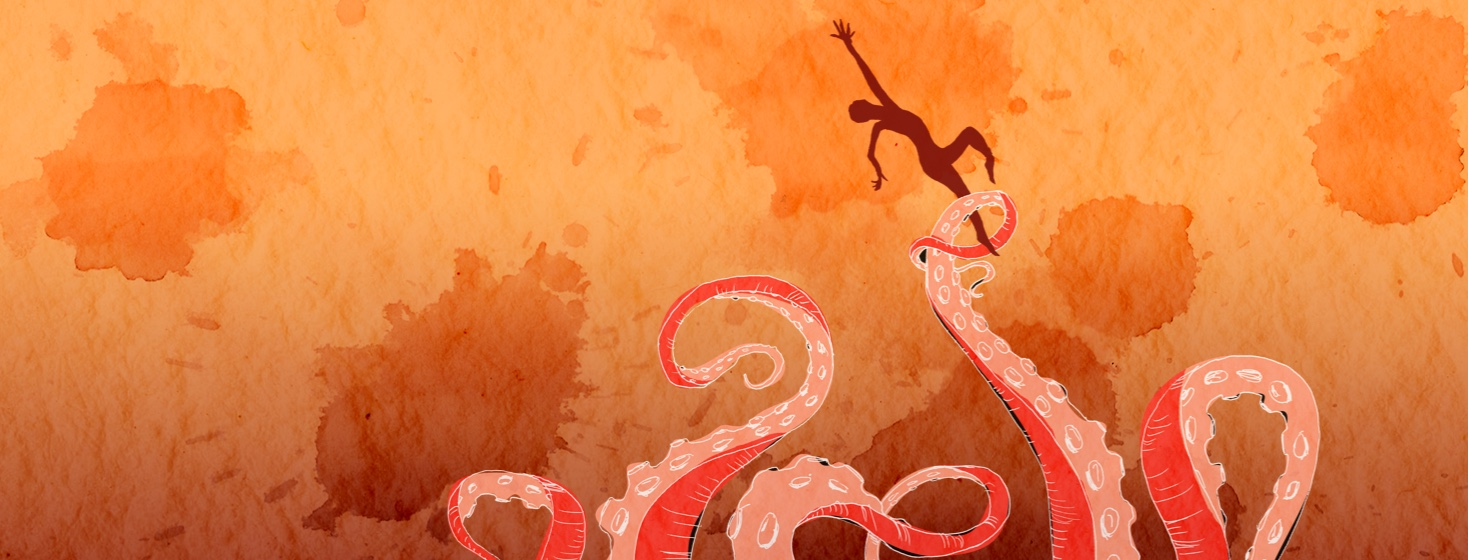 figure in silhouette being flung through the air by octopus tentacles
