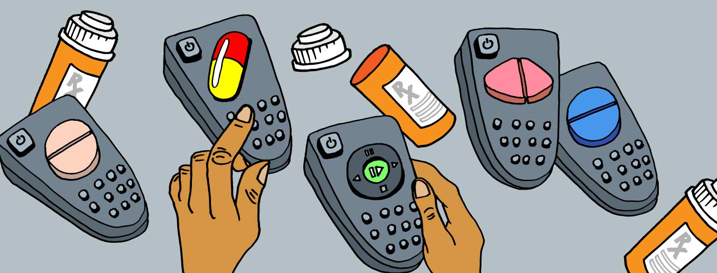 A collection of remote with pills replacing the button.