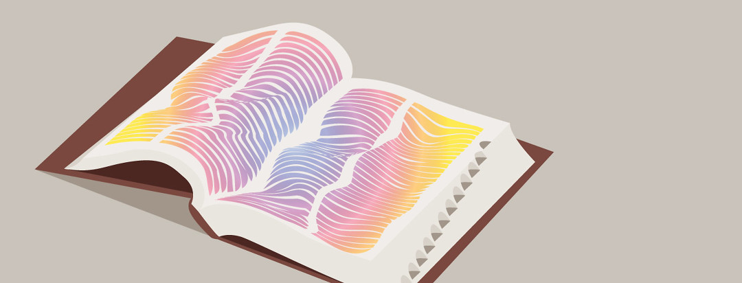 Open book with marbled rainbow lines representing atypical text