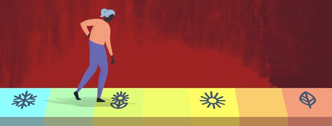 Woman walking along a path of varying seasons