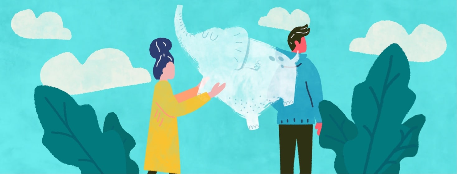 Woman holding proverbial elephant speech bubble directed towards a male figure with his back turned to her.
