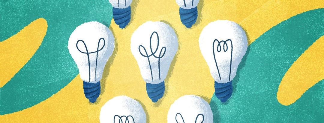 Seven different floating light bulbs.