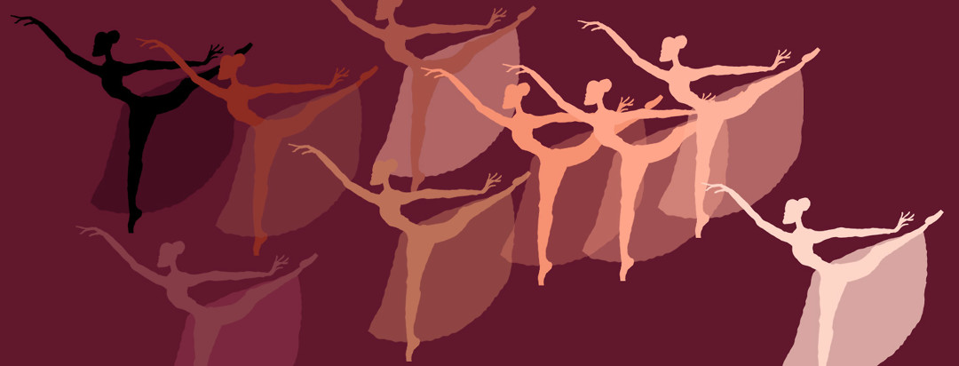A monochromatic pattern of ballet dancers on one leg with their arms raised