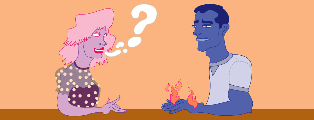 Two people sitting face to face having a conversation, question mark coming out of person #1's mouth. Person #2 has a distressed look on their face with flare icons over their hands.