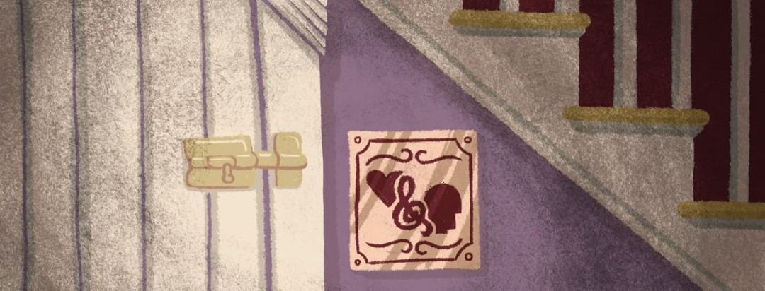 A locked doorway under the stairs with a little plaque that has an icon of a head and a heart on it.