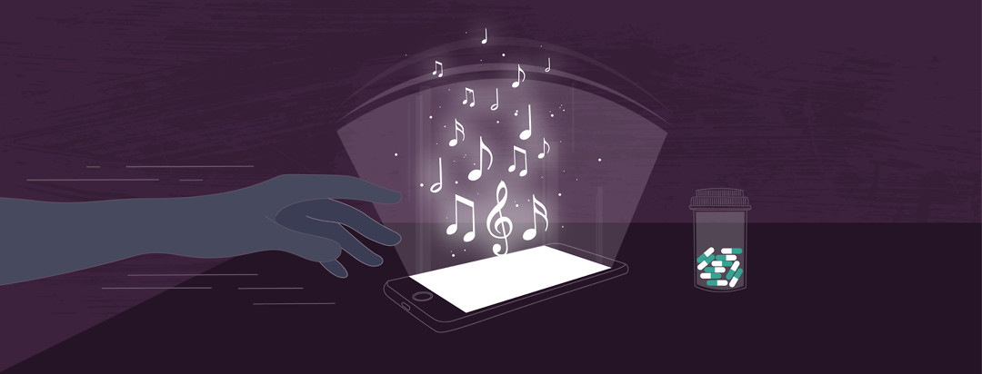 Hand reaching over a smartphone with music notes emanating from it, to a bottle of pills.