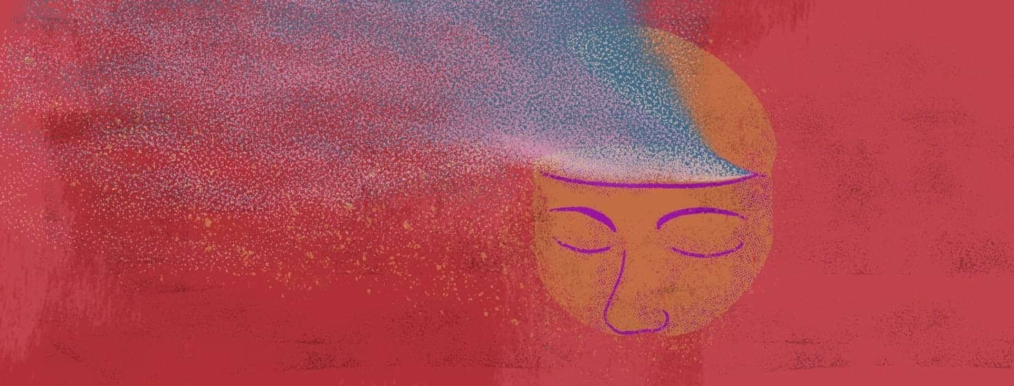 Partial view of a face with the top of its head open with glowing dust representing memories blowing away.