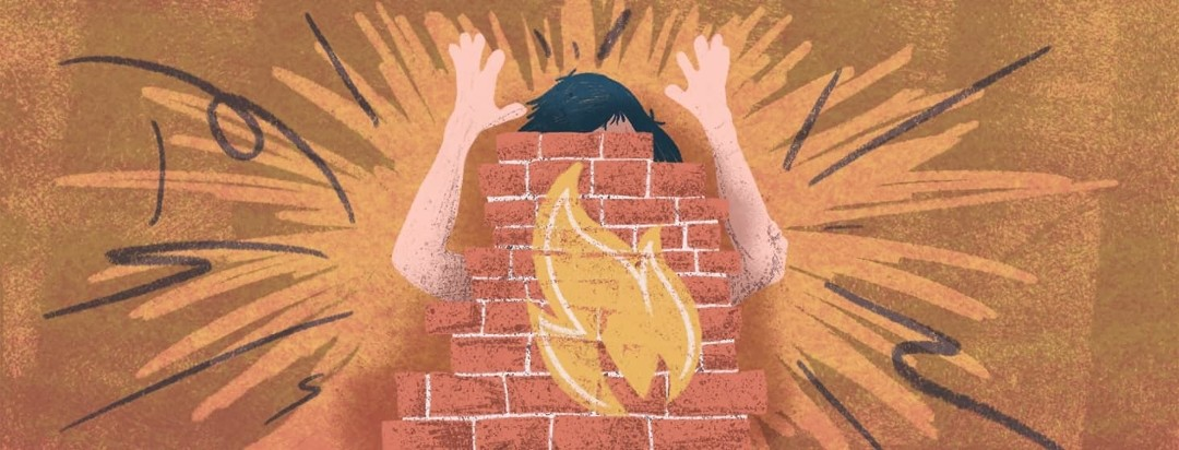 A person with hands raised in the air slamming into a wall with a symbol representing a flare on is.