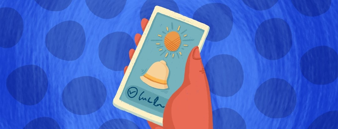 Hand holding phone with a sun, and alarm icon, and a task icon on it.