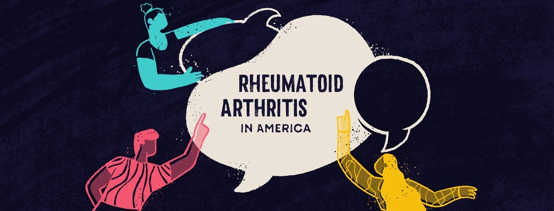 """Group of people pointing at a collection of speech bubbles. They're all saying the same thing """"Rheumatoid Arthritis in America"""""""