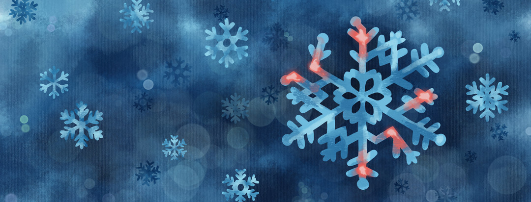 A winter scene with falling snowflakes, one of which is kinked and asymmetrical, with pain points at the joints.