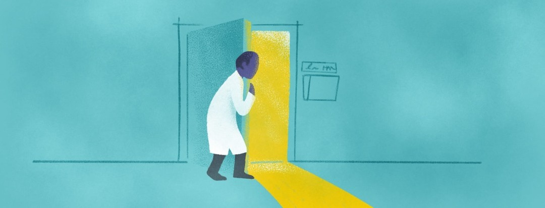 A doctor hiding behind a partially open door peering into a waiting room with a patient he is afraid of.