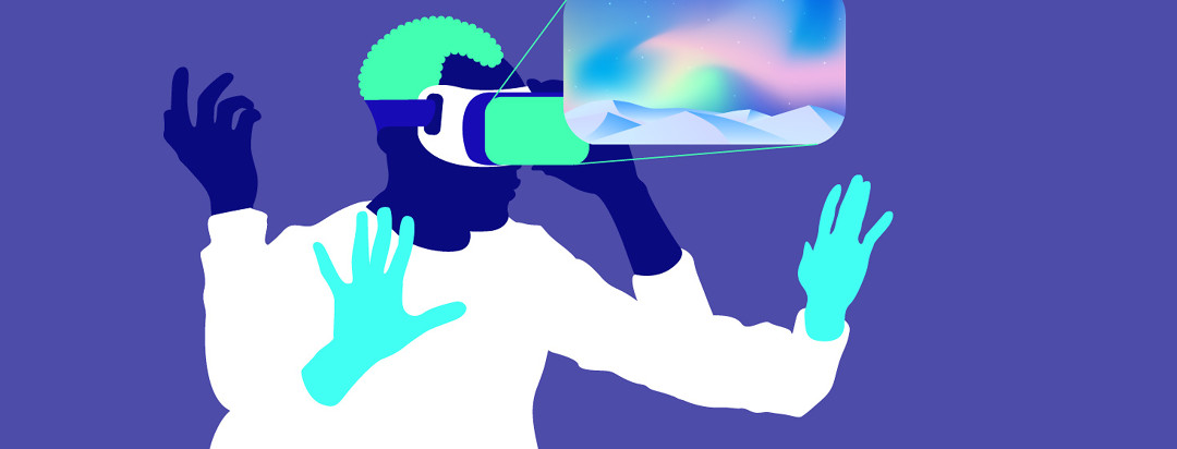 An adult wearing and interacting with a Virtual Reality headset. You can see a representation of the VR screen.