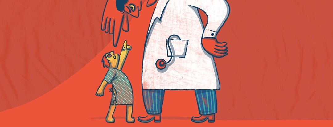 A small patient is standing in front of a giant-like doctor pointing and yelling at them while the doctor does the same.