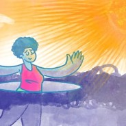 A woman with her arms raised breaking through a cloud to bask in the sun.
