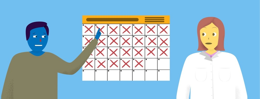 A man with a red nose pointing to an old date on a calendar