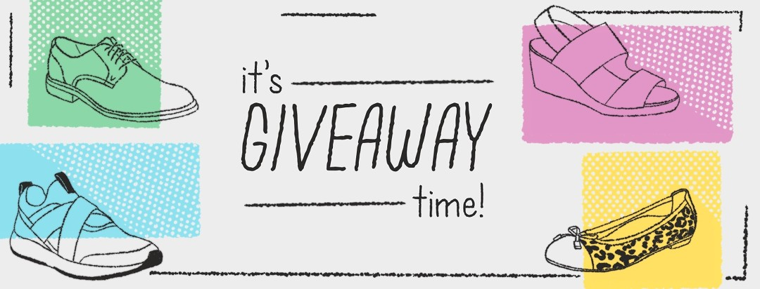 """""""It's Giveaway Time. Enter to win"""" and there are 4 different type of shoes represented."""