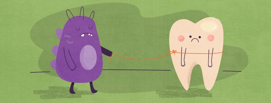 Monster holding leash string attached to sad tooth