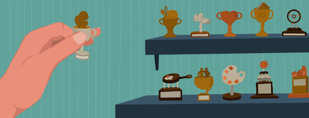 Shelf full of small trophies representing daily achievements