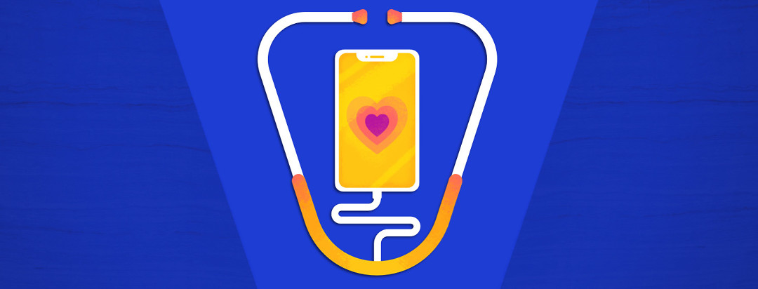 Health app on phone connecting to stethoscope
