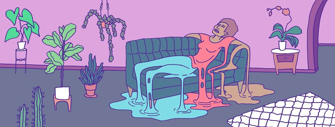 A fatigued woman laying on a couch melting into a puddle.