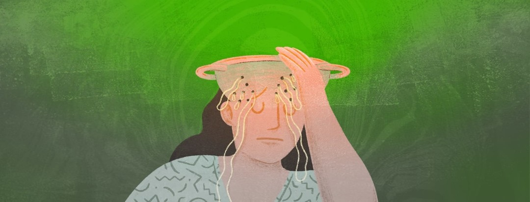 A distressed woman holding her head. The top of her head looks like a colander with spaghetti pooling out.
