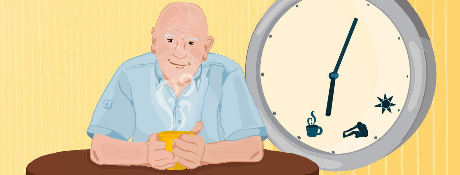 Older man sitting at table enjoying a hot beverage. Behind him is a giant wall clock with symbols representing parts of his long morning routine.