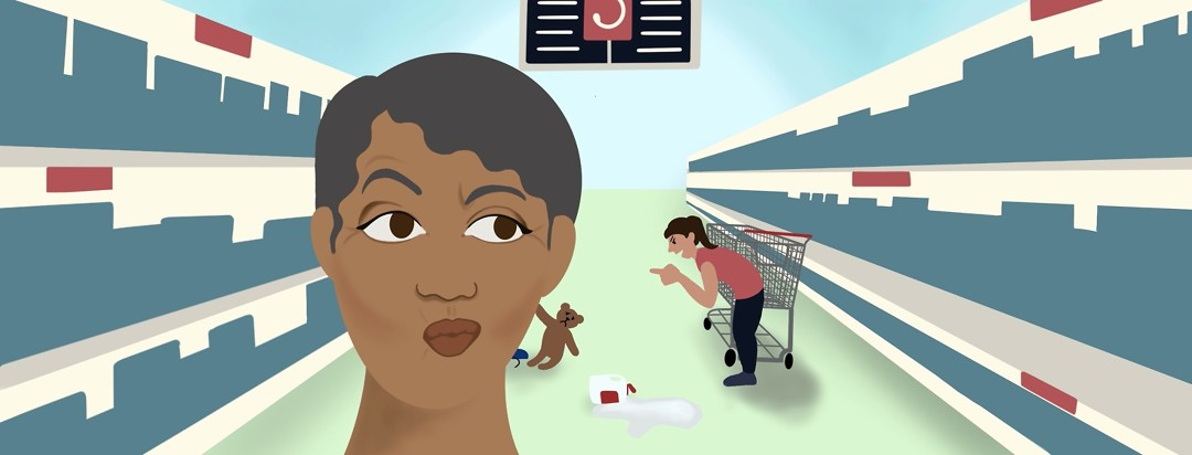 A woman purses her lips and arches an eyebrow at a mother talking angrily to a child in a grocery store.