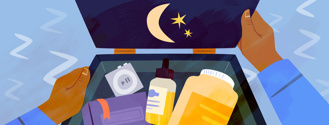 Insomnia toolbox containing sleep supplements, essential oil, a book and more