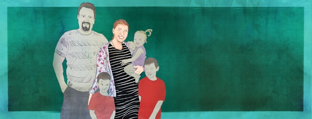 A portrait of RA advocate Mariah and her family.