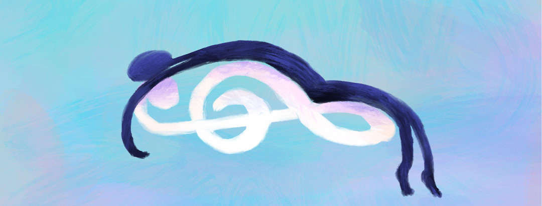 Person lying on top of a treble clef