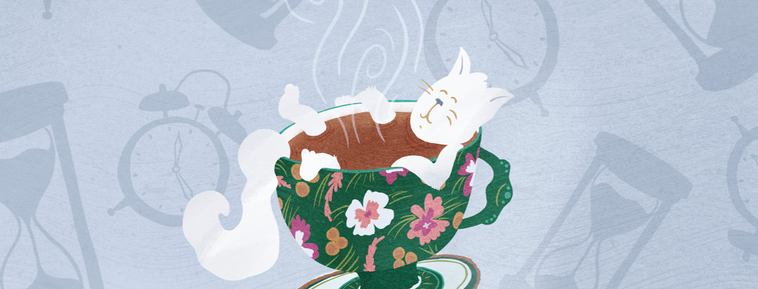 Cat lounging in steaming up of tea with clocks and hourglasses falling in background