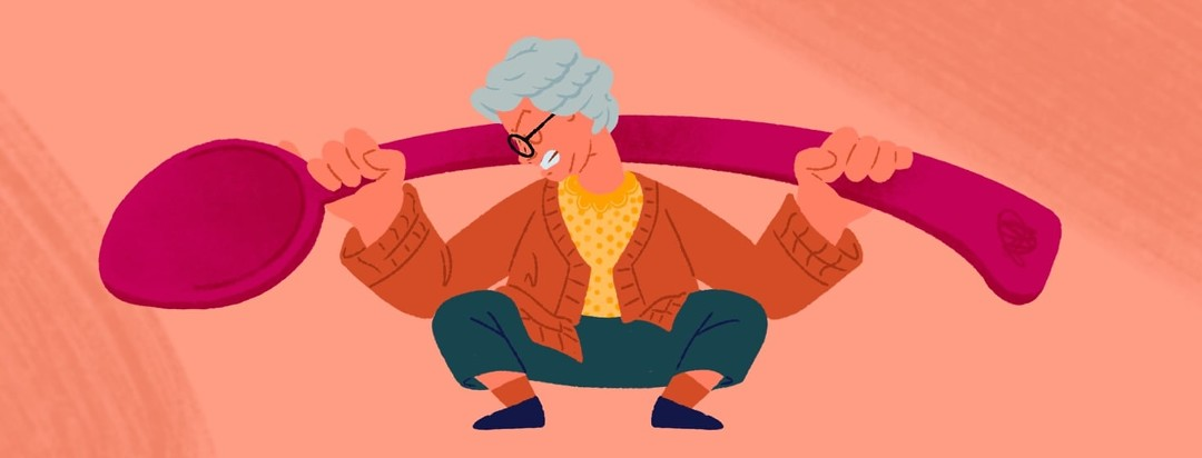 An older woman with white hear squat lifting an oversized spoon.