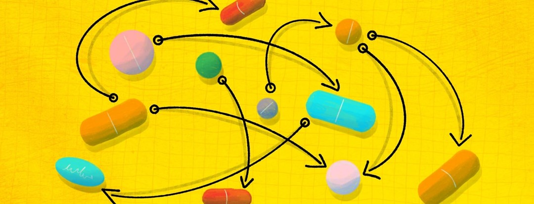 A collection of multicolored pills with arrows leading from one to another. It creates a very confusing diagram.