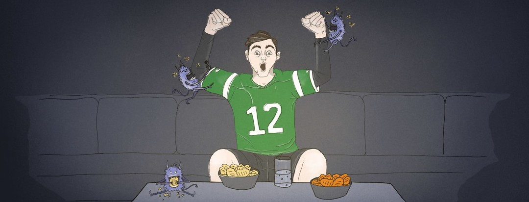 Excited person watching a football game on TV with small monsters biting at joints.