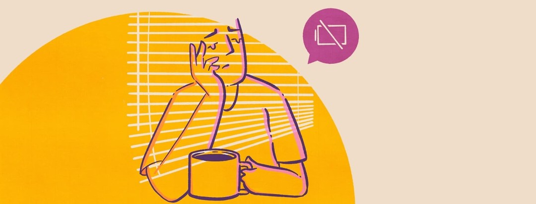 A person leaning on their hands holding a large mug of coffee. Behind them is a bright orange sun with off-kilter mini blinds. There is a low power alert popping out off to the right of the fatigued persons head.