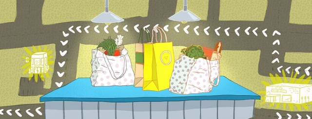 Shopping bags sitting on counter with a map in the background