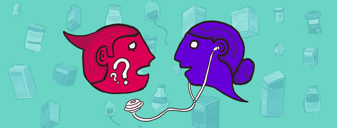 A doctor and advocate shaped speech bubble talking to each other. Behind them are several different types of medications and biologics.