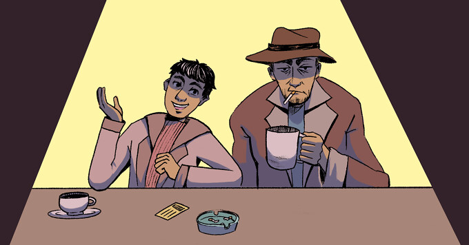 A young detective sits next to an older, jaded detective with a cigarette.