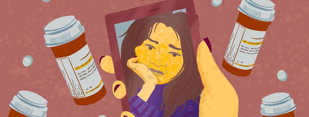 Person's selfie showing moon face; prednisone, puffy face, pills, medication complications, self-esteem. Female, white, adult.